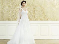 Verspielt Florales: Brautkleid aus Tüll in A-Linie mit Schnürkorsage
