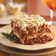 Lasagna Deliziosa, made with turkey sausage and 90% lean ground beef.  Good for you comfort food!