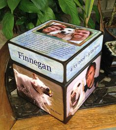 Pet Urn Custom & Personalized with one photo by BlocksFromTheHeart, $105.00