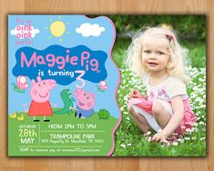 Peppa Pig Invitation - Make their birthday special with this unique Birthday Party Invitation! This listing is for one digital invitation personalized with your event details. You will receive a printable JPG file via email, no physical items will be shipped. You will be responsible for the printing of your invitations.  ★★ More PEPPA PIG PARTY designs available in my shop ★★ https://www.etsy.com/shop/LTAPrints/items?search_query=peppa+pig  ★ NO shipping cost! Be...