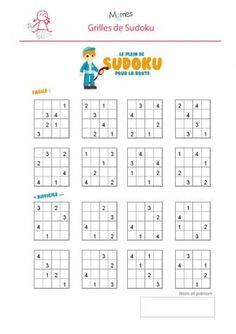 Sudoku-enfant-a-imprimer. Printable Crossword Puzzles, Sudoku Puzzles, Logic Puzzles, English Worksheets For Kids, Math Worksheets, Math For Kids, Puzzles For Kids, Kindergarten Math, Teaching Math