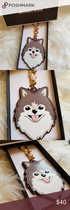 """Michael Kors Dog Husky CNY Leather Key Charm /Ring Gold-Tone Hardware  100% leather  Small Gold Red Year of the dog Charm with two Gold Balls  Attached split key ring  3.75"""" (L) x 6.5"""" (H)  Come with Michael Kors Gift Box  Limited Edition Michael Kors Bags"""