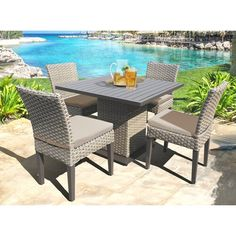 Sol 72 Outdoor™ Rockport 5 Piece Dining Set with Cushions & Reviews | Wayfair Cabana, Wicker Furniture, Outdoor Furniture Sets, Cabin Furniture, Garden Furniture, Furniture Makeover, Furniture Ideas, Furniture Design, Outdoor Dining Chairs