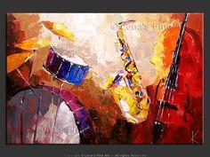 """Drums, Sax and Bass"" - Original Music Art by Lena Karpinsky, http://www.artbylena.com/original-painting/20040/drums-sax-and-bass.html"