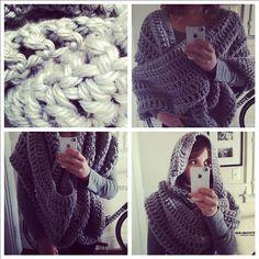 alaska big knit infinity scarf in vegan acrylic knit. ozetta via etsy #gray