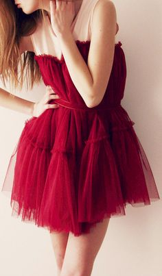 Red tulle dress - 2013