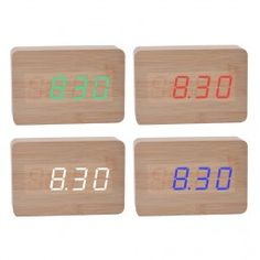 Cuboid Temperature Display Sounds Control Electronic LED Alarm Clock