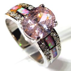 Pink crystal and opal ring