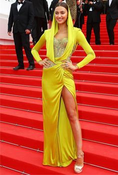 Sunny Yellow Dress is Trending at #Cannes2014 Irina Shayk in Atelier Versace hooded embellished corset draped details lime #yellow gown at the #RedCarpet during #Cannes Film Festival 2014 #fashion