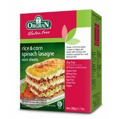 Μίνι Λαζάνια από Ρύζι και Καλαμπόκι με Σπανάκι 200gr Orgran #glutenfree #lasagne #pasta