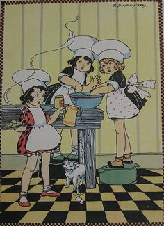 Items similar to Vintage Children's Print - The Three Girl Chefs - Girls Cooking Print - E Dorothy Rees 1921 -Matted -Ready to Frame on Etsy Vintage Children's Books, Vintage Postcards, Vintage Images, Vintage Designs, Art Nouveau Poster, Z Arts, Little Golden Books, Children Images, Illustration Art