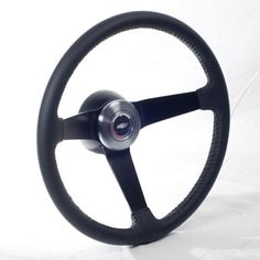 Volante Steering Wheel OE Style Black Leather Brushed Kit compatible with 1967-1968 GM Passenger