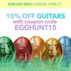 If you're on the hunt for a sweet guitar, join our egg hunt and get 10% off at www.hellomusic.com. Ends tomorrow!!
