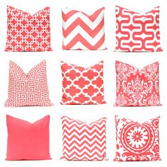 Coral Throw Pillow Covers, Coral Nursery, Decorative Coral Pillow Covers 12 x 16 or 12 x 18 Beach Decor Coral Collection Mix and Match by FestiveHomeDecor on Etsy