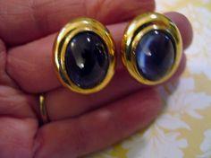 Vintage Estate Retro Signed CINER Earrings Blue Cabochon Goldplated Clip #Ciner #clip