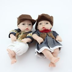 (29.08$)  Watch more here - http://aipu6.worlditems.win/all/product.php?id=32766739385 - Newest Cowboy Style Mini Lovers Dolls Friend Married Best Gift 11 inch 28CM Full Vinyl Silicone Body Real Reborn Baby Doll