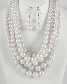 White Pearl multi  string Necklace & Earring Set $15.95 http://goddessjewelry.shopinterest.co/products/item?id=49&aid=524d0be84c2ff