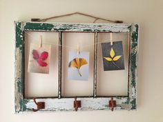 my photos in an old window frame - found the idea on pinterest!
