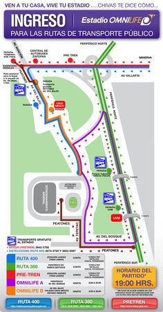 Mapa de transportacion Estadio Omnilife