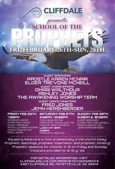 Cliffdale Christian Center presents The School of The Prophets Prophetic Conference Friday, February 26th-Sunday, February 28th. FREE TO THE PUBLIC, register at www.cliffdalealive.com/PropheticConference #CliffdaleAlive #WhereLoveWorks