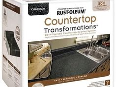 EASY DIY solution for redoing the kitchen countertops! --Rustoleum has made it easy to transform the look of your kitchen countertops using their Countertop Transformations Kit. It's easy to apply and cheap to boot! Resurface Countertops, Countertop Kit, Painting Countertops, Bathroom Countertops, Countertop Makeover, Giani Granite, Faux Granite, Green Countertops, White Counters
