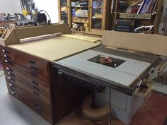 """Complete Woodworking Centre by Brendon - Here is a complete woodworking set-up in less than 4 square metres. It comprises of a saw table with outfeed table, a router table, a reversible fence, a router mill gantry (with a 1/2"""" Trend router)  for flattening large boards or slabs and a 9-drawer tool storage cabinet. The fence is reversible by way of  unlocking two mag-switches; it only takes a few seconds to lift the fence off and turn it around. One side is for the saw tab"""