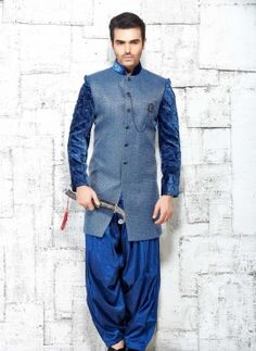 Blue designer Indian dhoti style sherwani in jute silk
