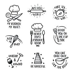 Find Hand Drawn Kitchen Posters Set Quotes stock images in HD and millions of other royalty-free stock photos, illustrations and vectors in the Shutterstock collection. Thousands of new, high-quality pictures added every day. Kitchen Art Prints, Kitchen Posters, Kitchen Quotes, Food Quotes, Funny Quotes, Bakery Quotes, Funny Cooking Quotes, Cookie Quotes, Funny Memes