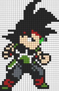 Bardock Dragon Ball Z bead pattern | DIY | Cross Stitch | Pinterest