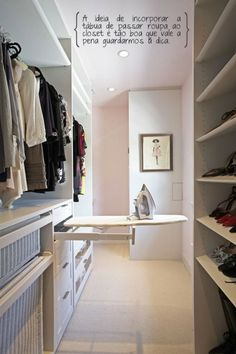 Incorporate ironing board into master closet?