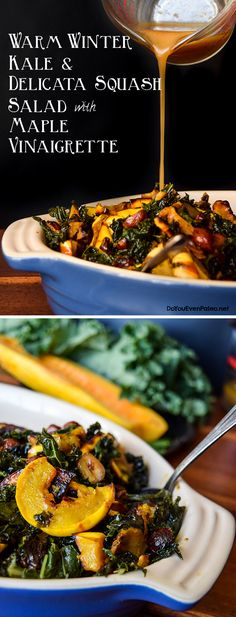 Warm Winter Kale & Delicata Squash Salad with Maple Vinaigrette - this salad can sit in the fridge for up to 5 days before servings, so it's perfect for meal prep, dinner parties, or potlucks! Real Food Recipes, Vegetarian Recipes, Cooking Recipes, Healthy Recipes, Healthy Food, Soup And Salad, Pasta Salad, Fish Salad, Shrimp Salad