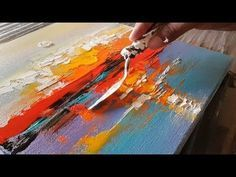 Abstract painting / Abstract landscape 12 / Easy in Acrylics / Demonstration - YouTube