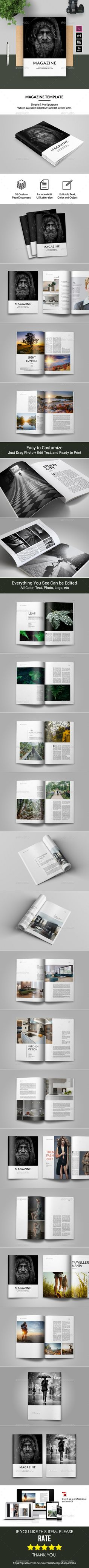 #Magazine Template - Magazines Print #Templates Download here: https://graphicriver.net/item/magazine-template/19696864?ref=alena994