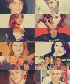 Then and Now. Dan Radcliffe (Harry), Emma Watson (Hermione), Rupert Grint (Ron), Bonnie Wright (Ginny), James and Oliver Phelps (Fred and George), Tom Felton (Draco)