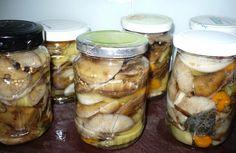 Hlavičky podpňoviek ( václavek ) povaríme 3 minúty v slanej vode. Scedíme a uložíme do fľaštičiek s kolieskami cibule, mrkvy a kúskami... Marmalade, Kimchi, Preserves, Pickles, Cucumber, Mason Jars, Food And Drink, Canning, Fruit