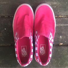 Pink Slip-On Vans Pink and white checkerboard Vans. Vans Shoes Sneakers