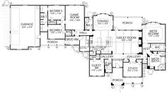 Traditional Style House Plan - 5 Beds 4 Baths 3287 Sq/Ft Plan #80-191 Floor Plan - Main Floor Plan - Houseplans.com