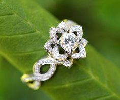 LOVE IN BLOOM - flor loto rosa Diamante compromiso o anillo de la mano derecha - 14k blanco - fL03