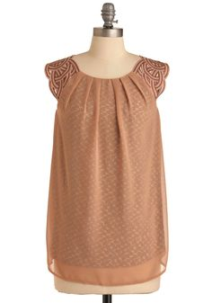 Veil-Safe Plan Top - Tan, Braided, Cutout, Sleeveless, Print, Casual, Long