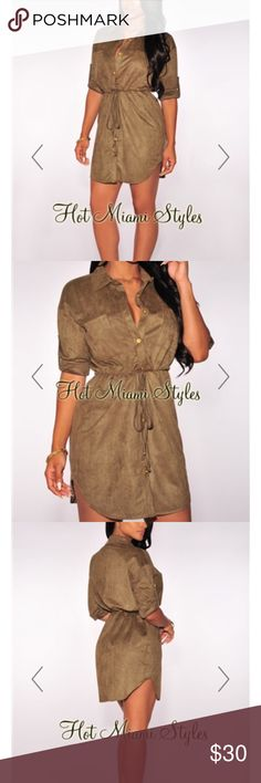 Hot Miami Styles Olive Faux Suede Dress Hot Miami Styles Olive Faux Suede Button Down Drawstring Dress. Worn once. Hot Miami Styles Dresses