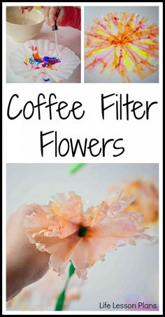 May Bulletin Board Coffee Filter Flowers - Life Lesson Plans Preschool Crafts, Fun Crafts, Crafts For Kids, Paper Crafts, Preschool Learning, Preschool Ideas, Craft Ideas, Coffee Filter Crafts, Coffee Filter Flowers