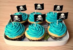 pirate flag cupcakes - simple and elegant 9th Birthday Parties, Happy Birthday Cakes, Birthday Fun, Birthday Celebration, Birthday Ideas, Cupcakes, Cupcake Cakes, Boat Cake, Haloween Party