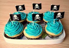 pirate flag cupcakes - simple and elegant Cupcakes, Cupcake Cakes, Birthday Celebration, Birthday Parties, Birthday Ideas, Baby Birthday, Pirate Cupcake, Pirate Cakes, Haloween Party