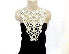 Handmade Cotton Lace Collar, necklace - Woman Accessories - Beige- Big Necklace- Woman Blouse Applique - OOAK. $38.00, via Etsy.
