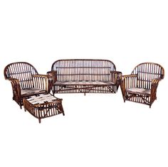 Four Piece Antique Stick Wicker Set | From a unique collection of antique and modern living room sets at http://www.1stdibs.com/furniture/seating/living-room-sets/