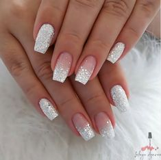 Short Coffin Nail Ideas For Spring – Page 6 of 6 – Vida Joven - Nail Art Designs 2020 Gorgeous Nails, Pretty Nails, Perfect Nails, Tapered Square Nails, Short Square Nails, Silver Glitter Nails, Glitter Nail Art, White And Silver Nails, Silver Acrylic Nails