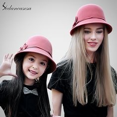 Cloche Hats for Female Autumn Winter Bucket Parent-child Hat Christmas gifts for Mother and Daughter Like if you remember #shop #beauty #Woman's fashion #Products #Hat