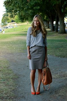 striped tee + pencil skirt.