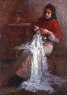 Giacomo Balla「Woman Sewing」 (1887)    p.c.  Note: one of the first paintings by Balla