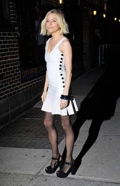 Sienna Miller in the party shoe of the season.